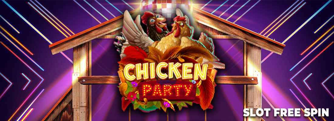 chicken party slot free spin game banner