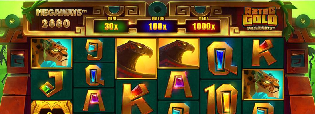 aztec gold megaways slot game banner