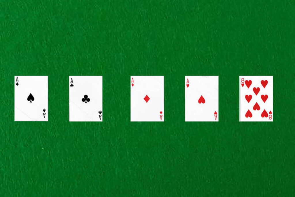 An image showing a four of a kind in poker.