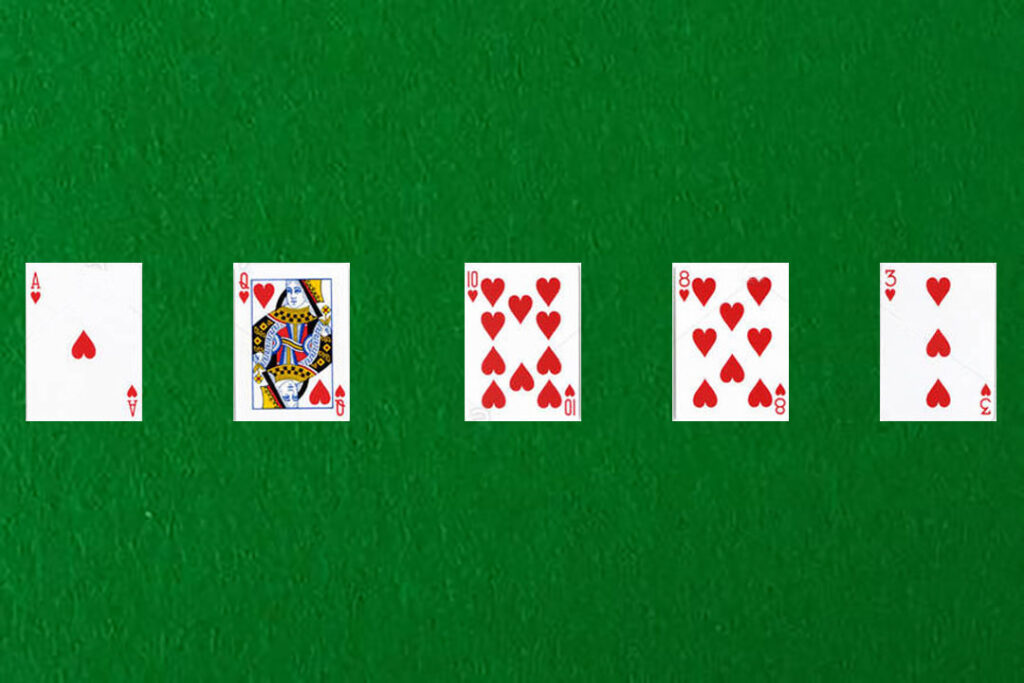 An image showing a  flush in poker
