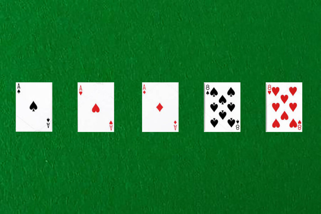 An image showing a full house in poker
