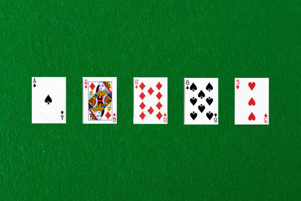 An image showing a high card in poker