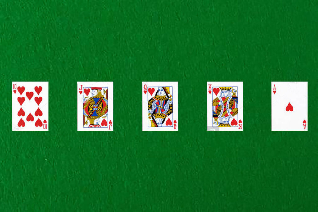 An image showing a royal flush in poker