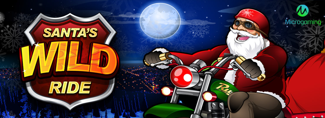 Santa's Wild Ride Slot Banner and offers for free spins for Santa's Wild Ride slot by Microgaming