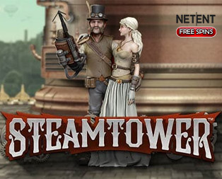 Steam Tower free spins, NetEnt free spins and and image showing that users can get free spins for Steam tower slot by clicking on the image