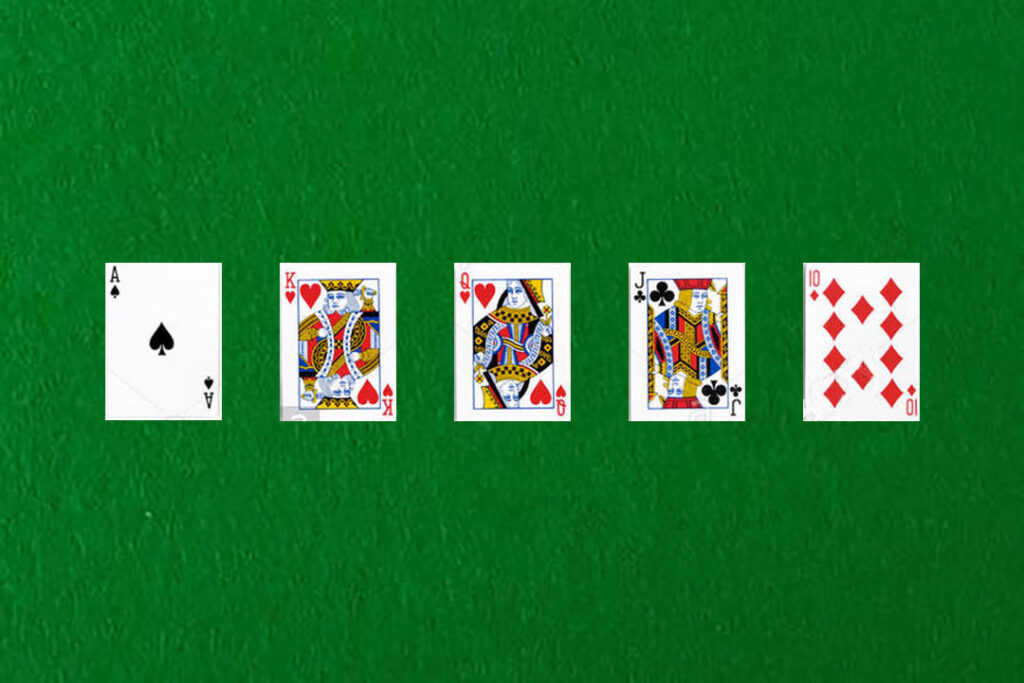 An image showing a straight in poker