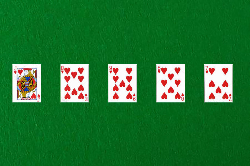 An image showing a straight flush in poker