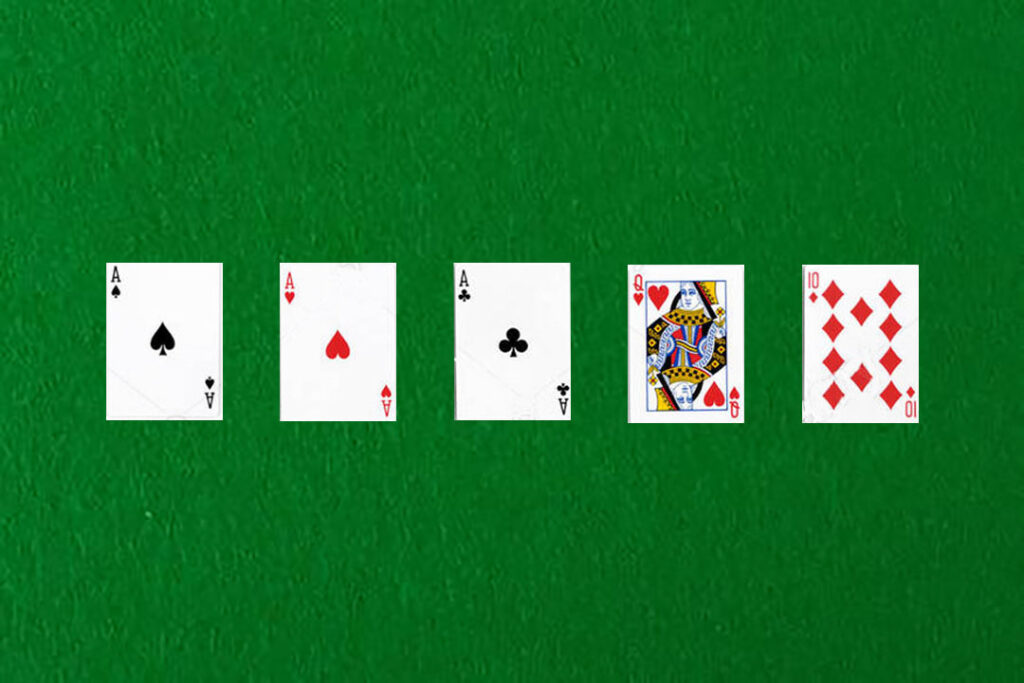 An image showing a three of a kind in poker